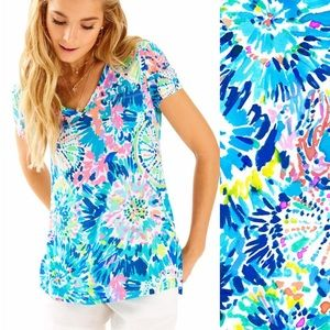 Lilly Pulitzer Meredith V Neck Top in 'Dive In' S